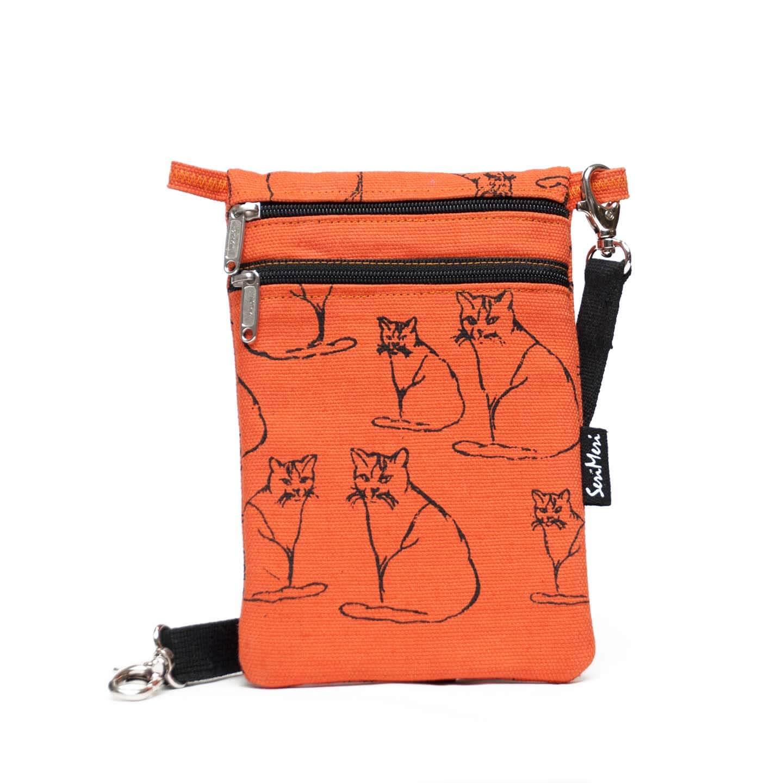 Oranssi Käsilaukku : Serimeri minilaukku k?nnykk?laukku kissat oranssi