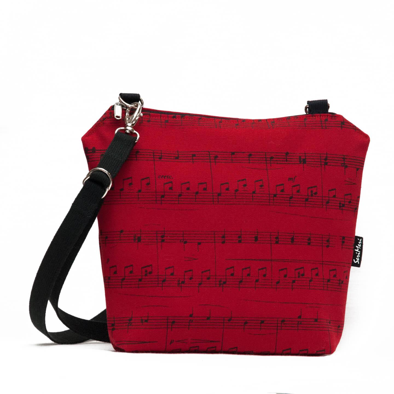 Punainen Chanel Laukku : Olkalaukku nuotit punainen puuvilla serimeri