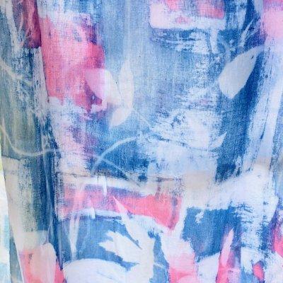 Huivi 170 x 40 cm sininen ja pinkki