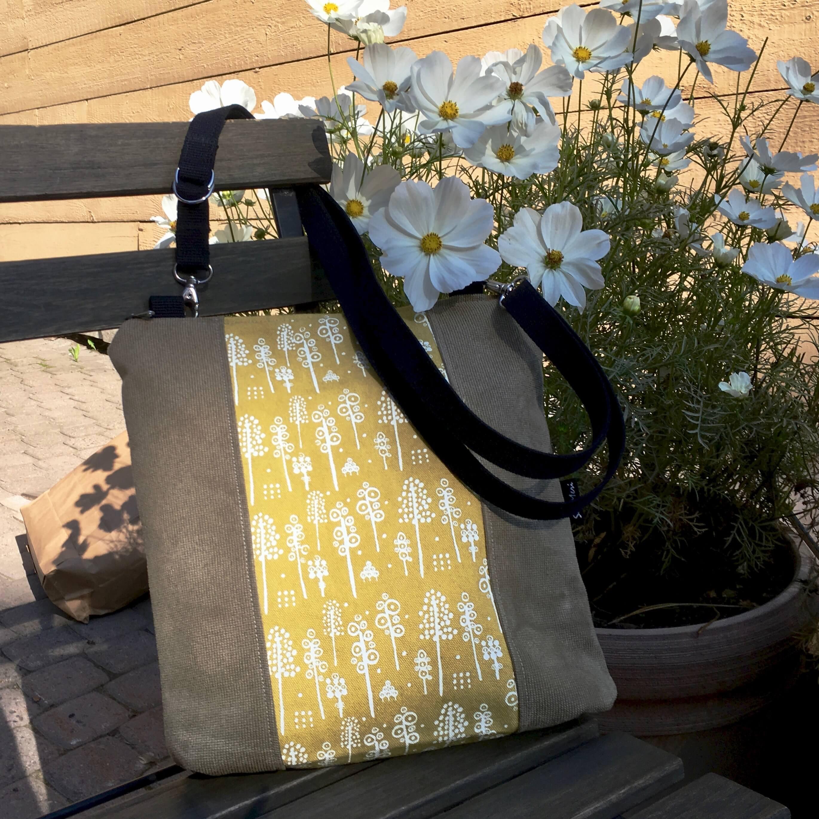 Uniikki laukku, keltainen ja harmaan vihreä