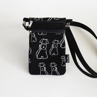 Kännykkälaukku-koirat-musta