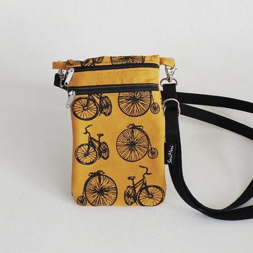 Kännykkälaukku, polkupyörät, okra