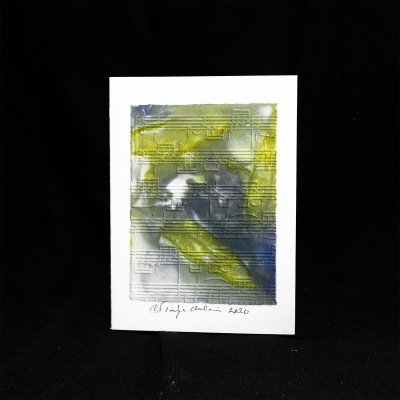 Eco Printing kortti nuottikuvioin värinä salvia ja punakaali