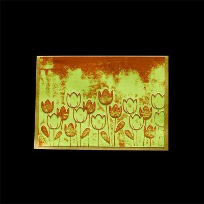 Kohopainettu kortti, vihrea pohja tulppaanit
