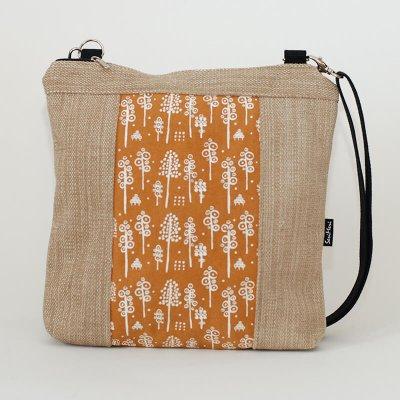 Uniikki laukku, metsäkuvio ja huonekalukankaat
