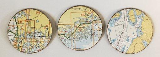 Uniikit lasinalustat merikartta sarja B Heilsinki Parainen