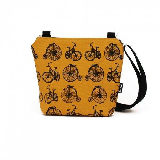 Olkalaukku kuviona polkupyörät, väri okra