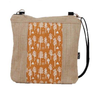 Uniikkilaukku, huonekalukangasta, metsäkuvio