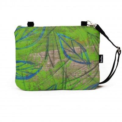 Uniikki taidelaukku, käsinmaalattu, vihreä, pellava
