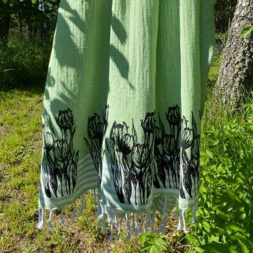 Hamam pyyhe tulppaanit kuvio vihreä kangas
