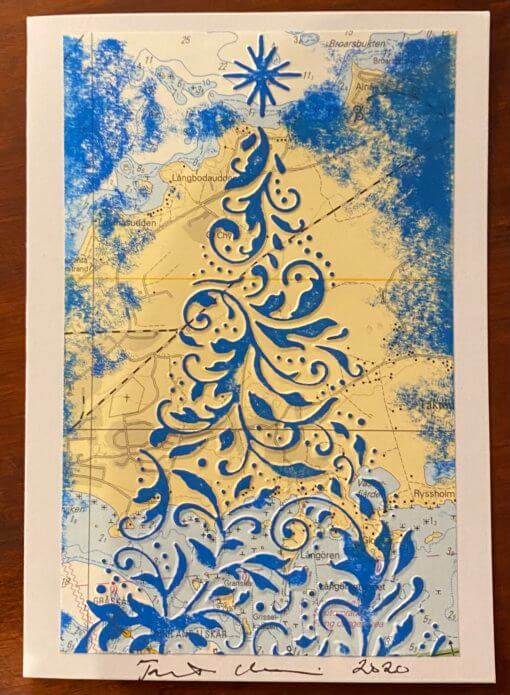 Joulukuusi, merikartta, sininen