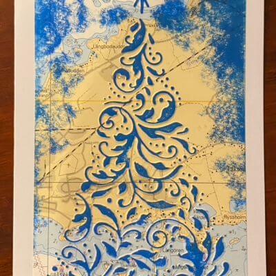 Joulukuusi merikortti, sininen