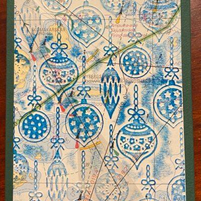 Joulukoristeet, merikartta, sininen