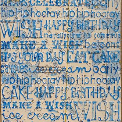 Syntymäpäiväkortti Happy Birthday, sininen kohopaino